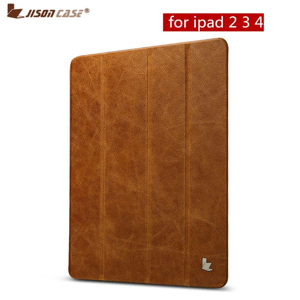 Jisoncase Funda pour pochette iPad en cuir véritable pour iPad 2/3/4 couverture de tablette pour 9.7 pouces couverture intelligente Auto réveil sommeil