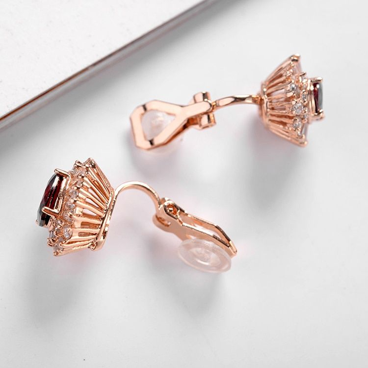 PhoenRing Charm fashion high quality Top level Inlaid CZ zircon personality Party No ear hole clip earrings For women jewelry