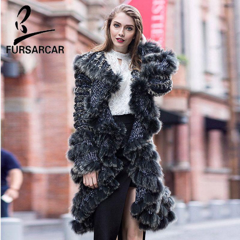 FURSARCAR 2018 New Autumn & Winter Knitted Rex Rabbit Fur Jacket Design Fashion Long Natural Fur Women Winter Real Fur Coat