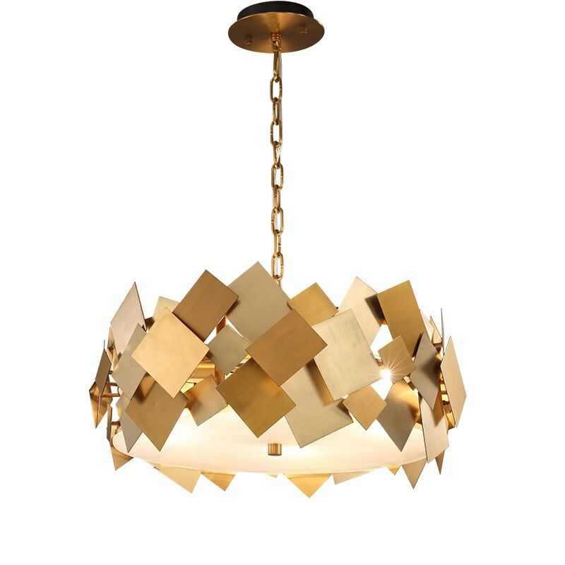 wongshi Modern Gold Hardware Copper Pendant Lamp With E14 Bulbs for For Dining Kitchen Room Foyer Pendant lightings