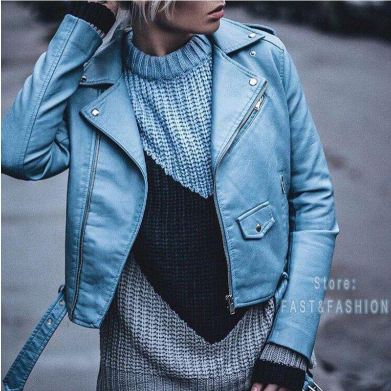 2018 Nouveau Mode Femmes Autunm Hiver Vin Rouge Faux Cuir Vestes Lady Bomber Moto Cool Survêtement Manteau avec Ceinture Chaude vente