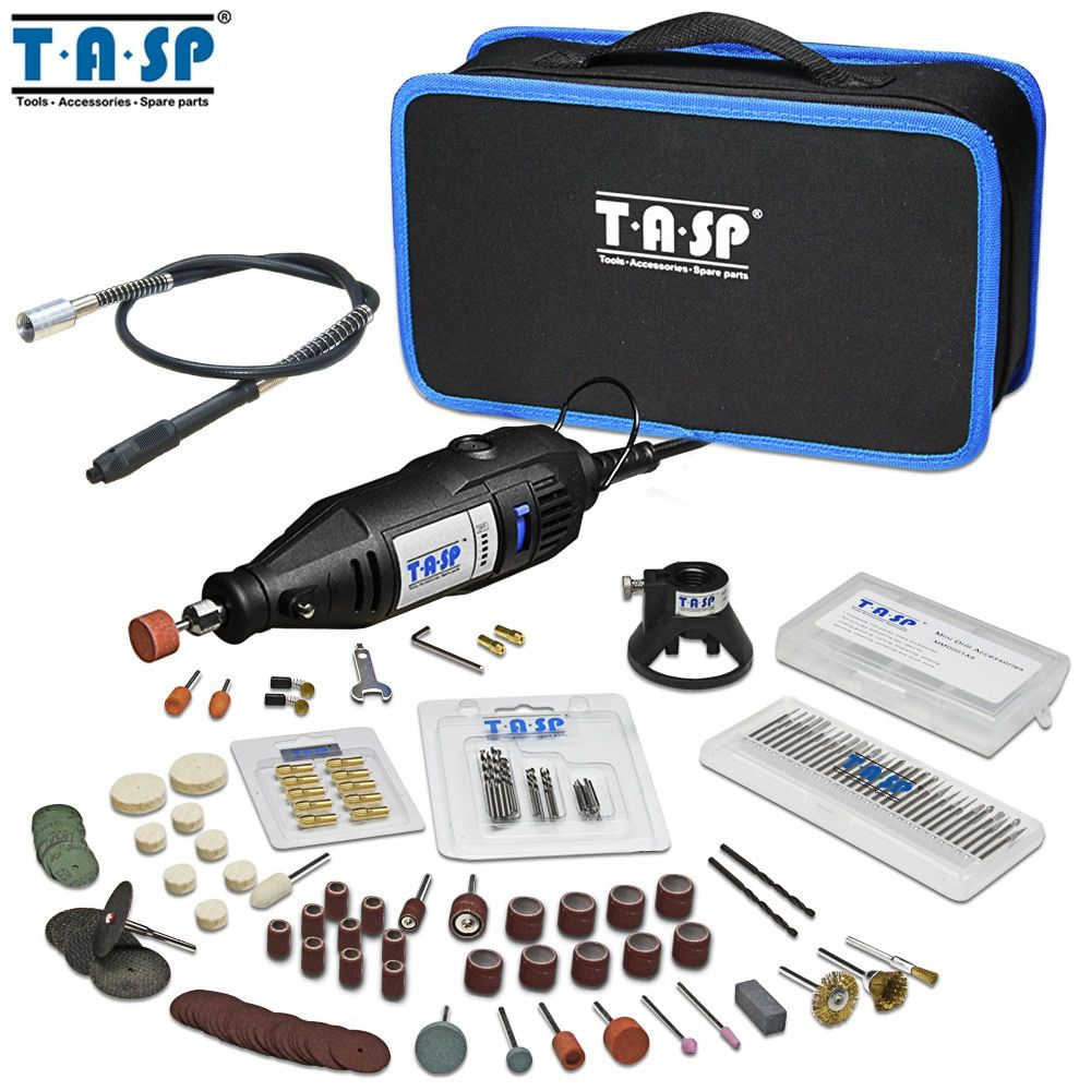TASP 220V 130W Electric Variable Speed Mini Drill Set Power Engraver Rotary Tool with Accessories Attachments and Storage Bag