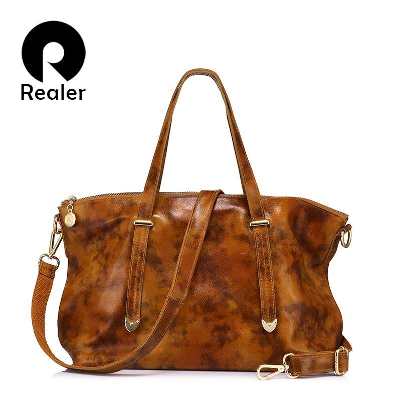 Realer натуральная кожа женщин сумка сумки на плечо женский большой емкости Сумочка красный/коричневый/зеленый/синий/черный