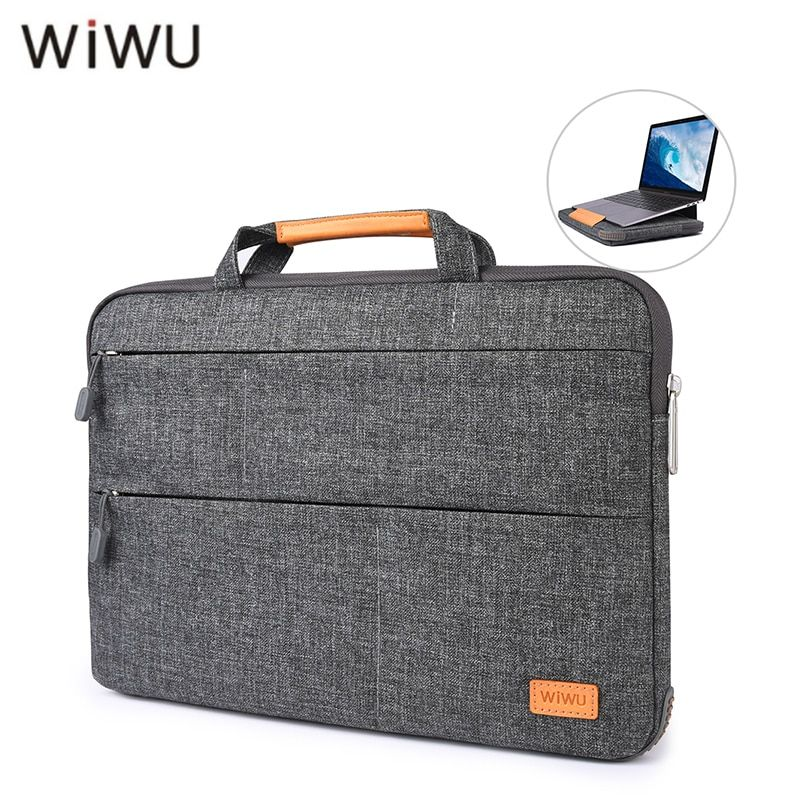 WIWU Notebook Bag With Stand Function Multi-Pockets Waterproof Nylon Laptop Bag for MacBook Pro 13 15 Air 13 Portable Stand Bag