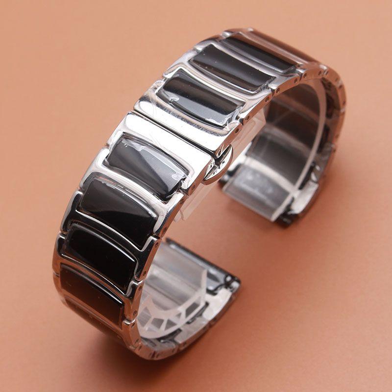 20mm 22mm Bracelet Hommes Femmes Haute Qualité En Acier Inoxydable wrap En Céramique Noir Bande Argent métal Montre Bracelet Sangle promotion