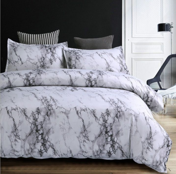 MARBLE polyester microfiber Duvet Cover Set 1pc Duvet Cover 2pcs Pillowcase Full/Queen/King Size Bedding Set