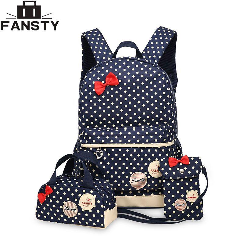 Nouvelle fille école étudiant sac à dos mignon arc 3 pièces Polka Dot Crossbody sacs pour femmes voyage sacs Bookbag enfants porte-crayon
