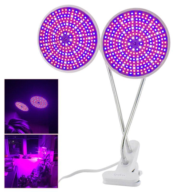 Full spectrum 290 Led Plant Flower Grow Light Bulb E27 Dual Lamp Lighting Set Desk Clip Holder Vegs Seeds for Indoor Hydroponic