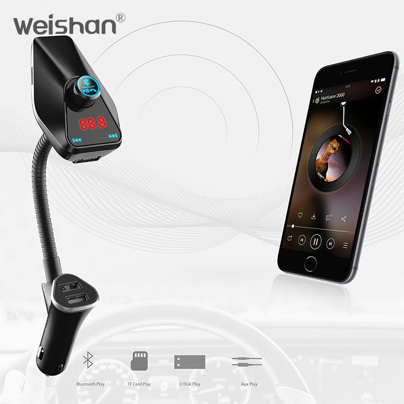 weishan New 2018 FM <font><b>Transmitter</b></font> Aux Modulator Bluetooth Handsfree Car Kit Car Audio MP3 Player with Charge Dual USB car charger