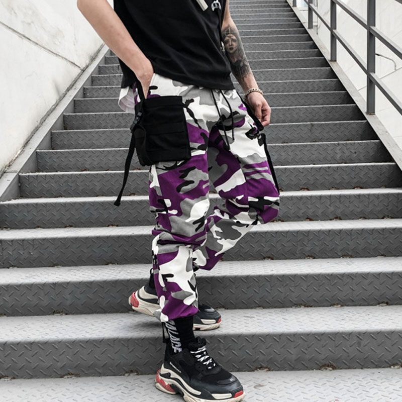 BF-2 Style Korea Mens Casual Hiphop Pants More pockets Cargo Pants Men CHIC Army Camouflage Slacks Trousers Hight Street Pants