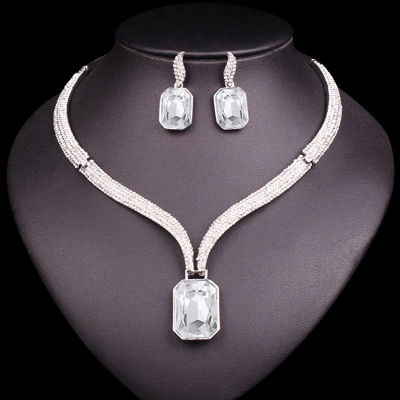 Mode AAA cristal collier ras du cou et boucles d'oreilles ensembles de bijoux de mariée mariée fête de mariage Costume bijoux cadeaux pour les femmes