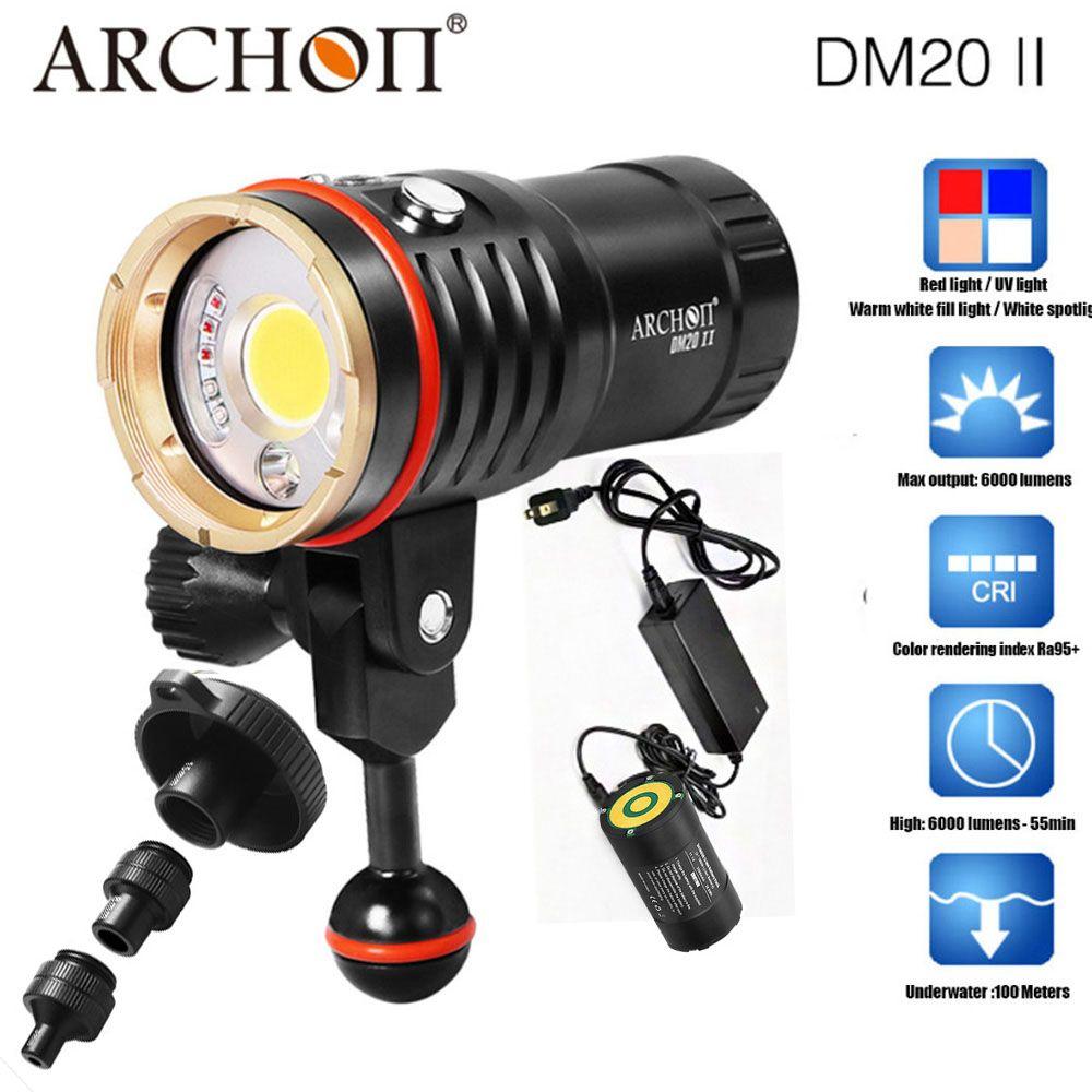 ARCHON DM20-II WM26-II 6000LM 60 W COB Tauchen Video Licht UV/Rot Photographying Dive Taschenlampe 100 M Unterwasser mit sonnt