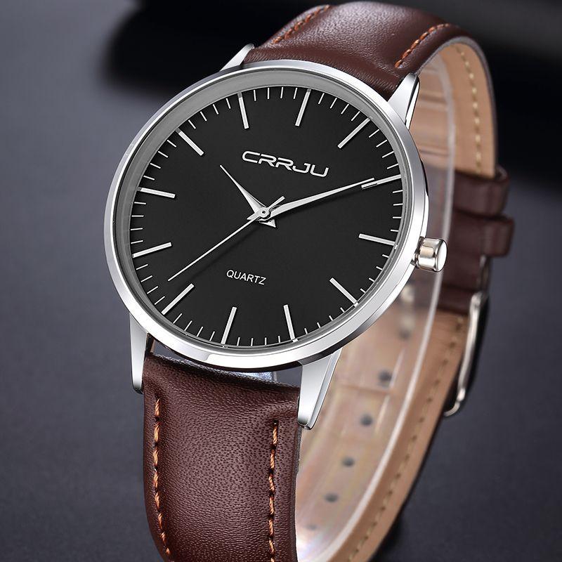 Crrju Элитный бренд Для мужчин Часы ультра тонкий Пояса из натуральной кожи часы Мужские кварцевые часы Спорт Для мужчин Водонепроницаемый По...