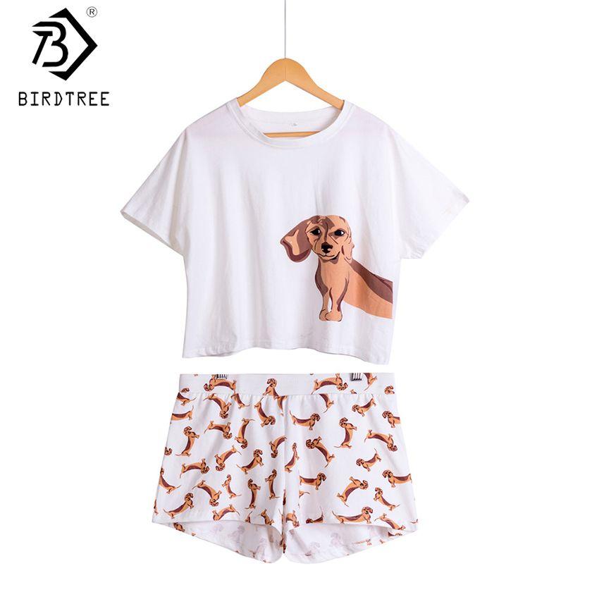 Femmes teckel chien imprimer ensembles 2 pièces pyjama costumes haut court + short extensible hauts amples grande taille taille élastique S69305