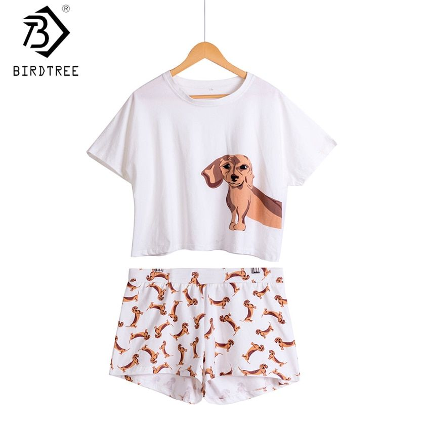 Women's Dachshund Dog Print Sets 2 Pieces Pajama Suits Crop Top + Shorts Stretchy Loose Tops Plus Size Elastic <font><b>Waist</b></font> S69305