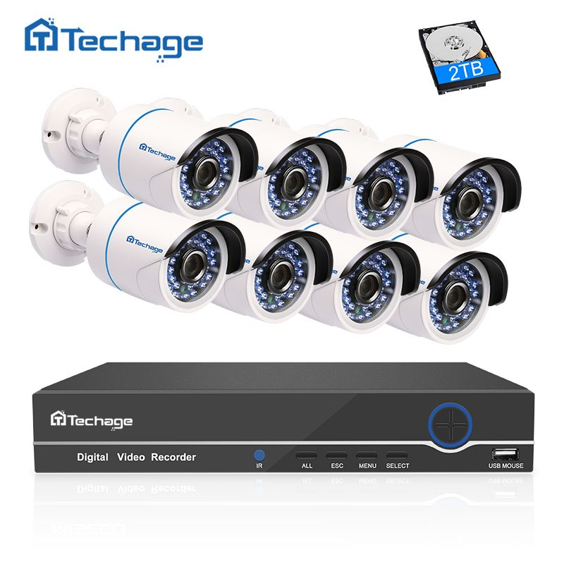 Techage 8CH 1080P Full HD NVR Kit POE CCTV System (8) 2.0MP Outdoor IP Camera Waterproof P2P Onvif Security Surveillance Set