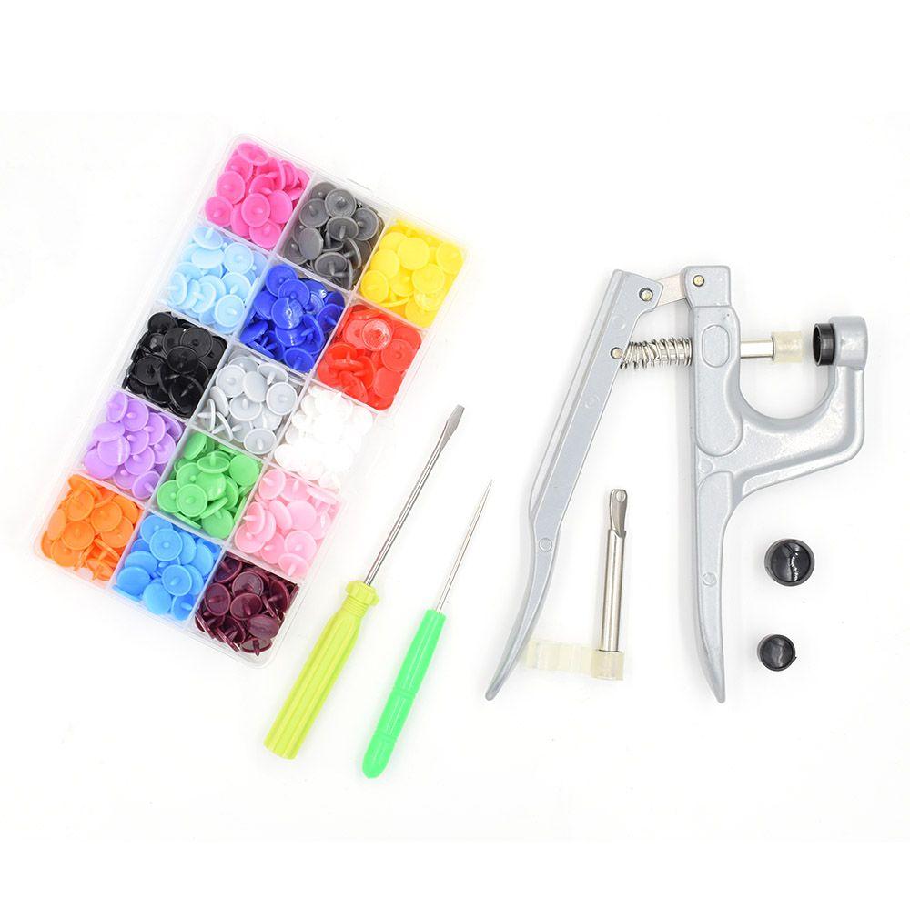 1Set Metal Press Pliers Tools Used for T3 T5 T8 Button Fastener Snap Pliers+150 Set T5 Plastic Resin Press Stud Cloth Diaper