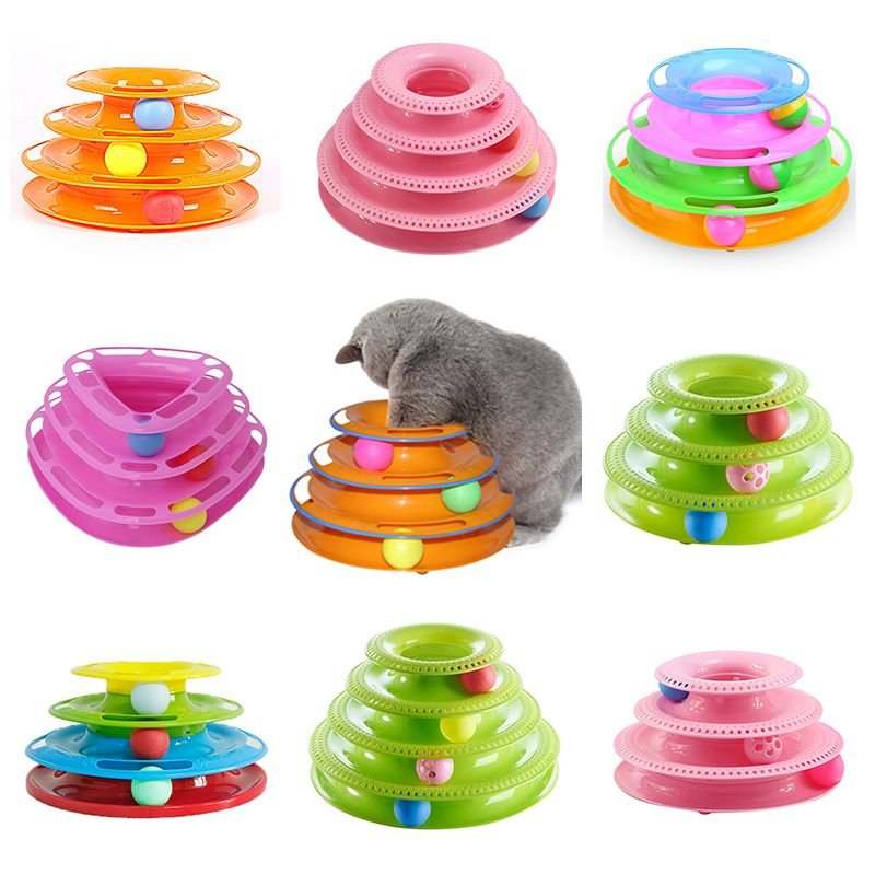 Free Shipping Funny Pet Toys Cat Crazy Ball Disk Interactive Amusement Plate Play Disc Trilaminar Turntable Cat Toy