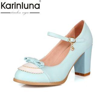 Karinluna/Размеры 32-45 классический Мэри Джейн Стиль туфли на толстом высоком каблуке женщина Изящные туфли-лодочки с бантом вечерние свадебные ...