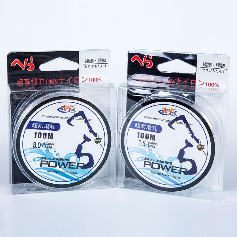 Super Starke pull 17,5 kg 100 mt Japanischen material 100% Nylon Transparent Fluorangelschnur Karpfen Angelschnur Angelgerät