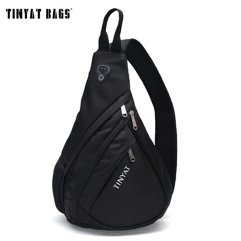 TINYAT Men Bag Men Shoulder Sling Bag pack USB Waterproof Messenger Crossbody Bag Black Travel women chest bag for <font><b>ipad</b></font> T509