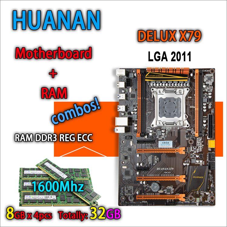 HUANAN golden Deluxe version X79 gaming motherboard for intel LGA 2011 ATX 4 combos 4 x 8GB 32GB 1600Mhz DDR3 RECC Memory 64gb