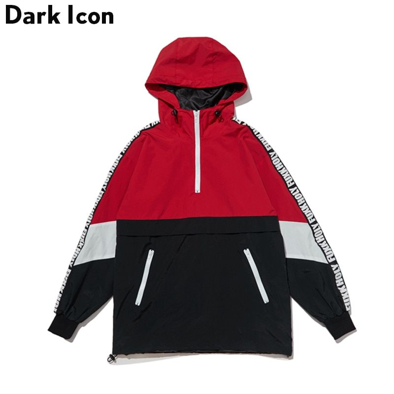 DARKICON Color Block Patchwork Stand Collar Streetwear Jackets Men Women 2017 Autumn New Half Zipper Pullover Men's Jackets