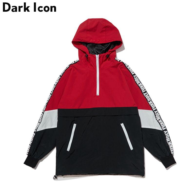 DARKICON Color Block Patchwork Stand Collar Streetwear Jackets Men Women 2017 Autumn New Half Zipper Pullover Men's Jackets
