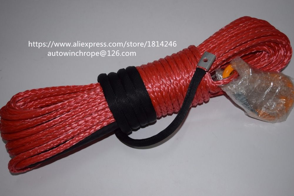 Red 8mm*30m Synthetic Rope,ATV UTV SUV Winch Line,Off Road Rope,Towing Ropes with Hook,Tow Cable