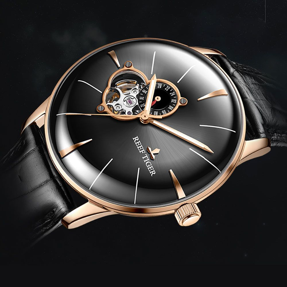 2018 Reef Tiger Mens Dress Watch Top Brand Luxury Automatic Watch Genuine Leather Strap Rose Gold Analog Watches RGA8239