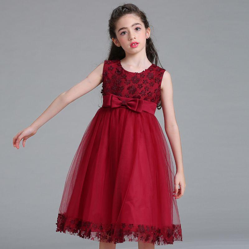 Retail Children <font><b>Girl</b></font> Party Dress 2018 New Style Flower <font><b>Girl</b></font> Wedding Dresses With Bow <font><b>Girl</b></font> Communion Dresses LL314