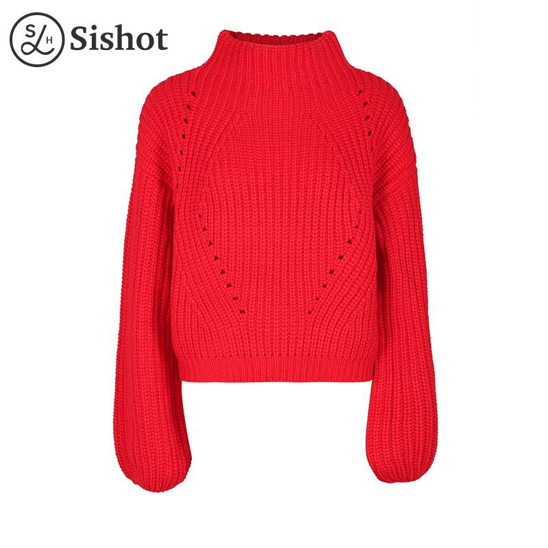 Sishot women casual knitwear 2017 autumn red plain short pullover o round neck long sleeve fashion winter casual mini pullovers