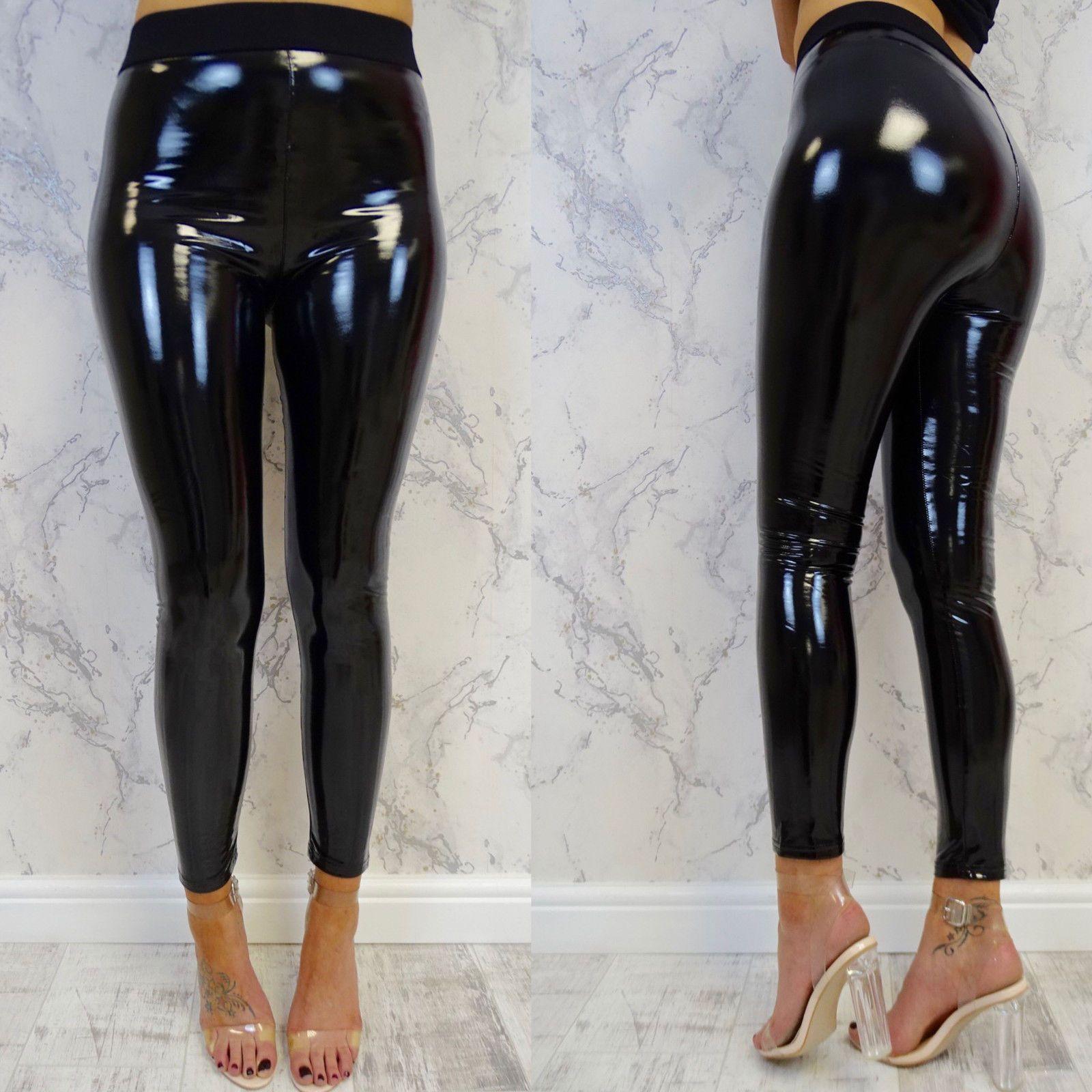 Femmes Leggings Wet Look PU En Cuir Leggings Noir Mince Long Pantalon Femmes Sexy Skinny Leggings