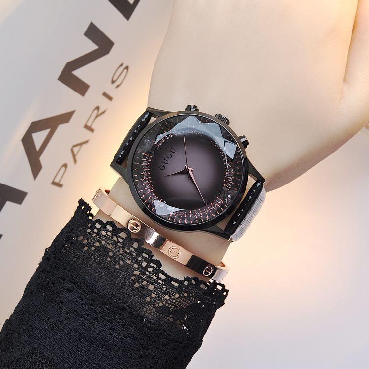 GUOU часы Для женщин Топ Роскошные модные кварцевые часы женские наручные часы Пояса из натуральной кожи со стразами Для женщин Часы Saat Relogio ...