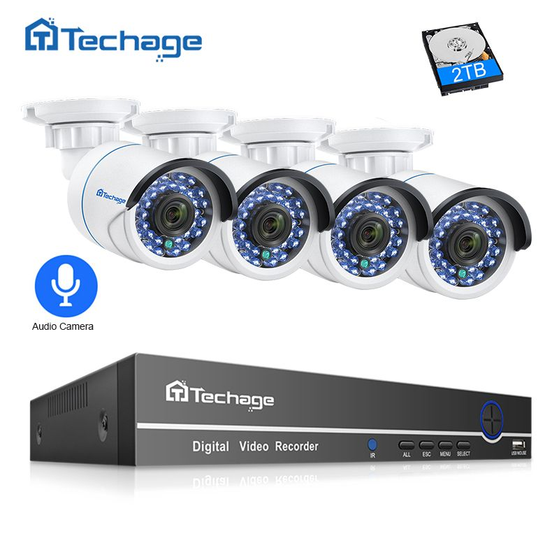 Techage 8CH 1080P POE NVR CCTV Security System 4PCS 2.0MP Audio Record IP Camera IR P2P Outdoor Video Surveillance Kit 2TB HDD