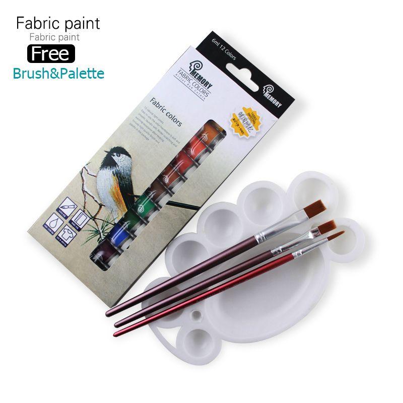 Mémoire marque Textile professionnel tissu peinture ensemble Non toxique Tube 12 couleurs peinture acrylique pour artistes offre gratuite pinceau