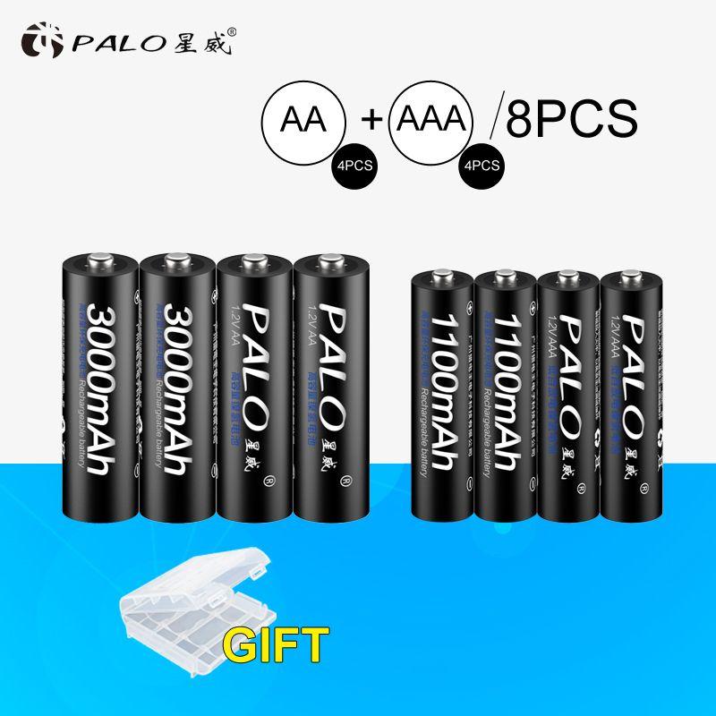 PALO 4 pcs 1.2 v 3000 mah Piles AA + 4 pcs 1100 mah AAA Batteries NI-MH AA/AAA rechargeable Batterie