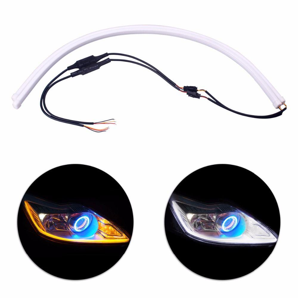 2 x 60cm Angel Eye Daytime Running Light Universal Tube Guide Soft & Flexible Car LED Strip DRL White & Yellow Turn Signal Light