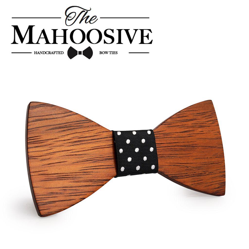 Mahoosive Gravata Plaid Bois En Bois Arc Cravate Pour Homme De Mariage Papillon Conception Cravate pour Mariage Marié