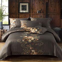 Mesir Katun Bordir Set Tempat Tidur Mewah Noble Palace Bed Set Raja Ratu Ukuran Duvet Bedsheet Set Parvis De Lit ropa