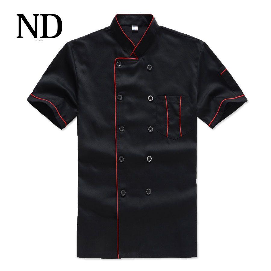Nuevo chef de manga corta transpirable traje de verano desgaste ropa de trabajo hombres y mujeres Monos Abrigos Hotel chef negro uniforme chaqueta