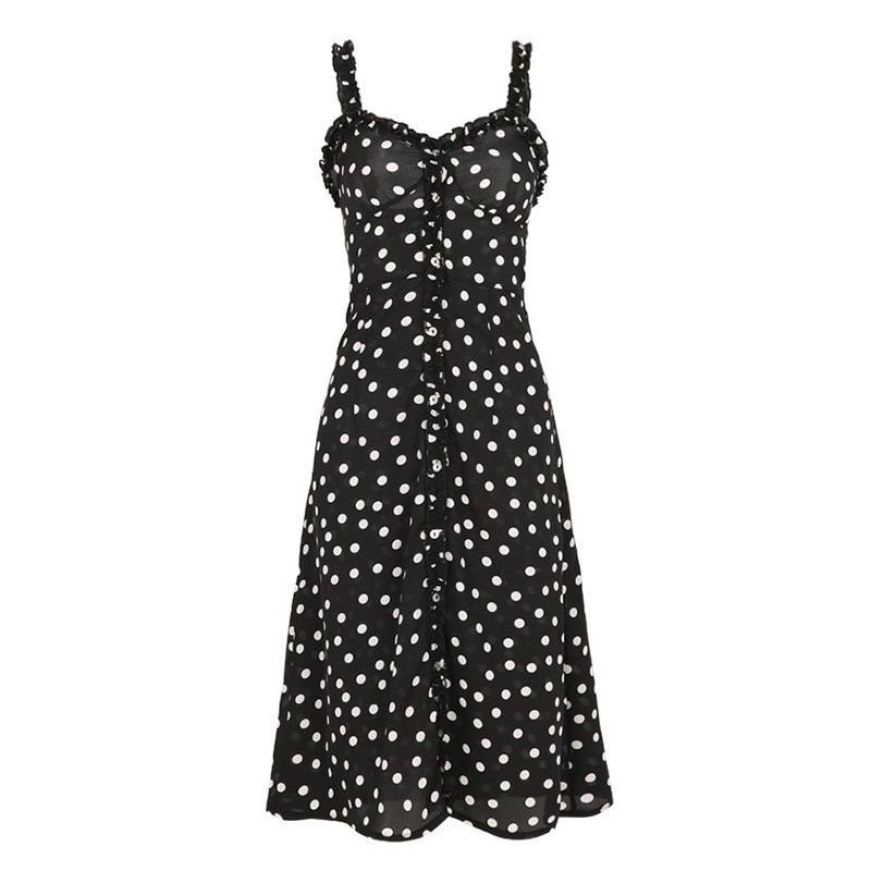 Women Polka Dot Print Dresses With Buttons Spaghetti Strap Liberty Dress Sexy Club Wear Vintage Red Dress Female 2018 Summer