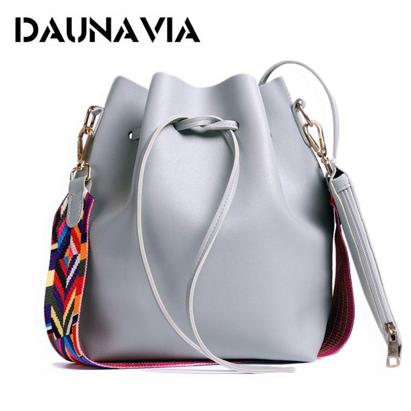 DAUNAVIA Femmes sac avec Bracelet Coloré Seau Sac Femmes PU Cuir Sacs à Bandoulière Marque Designer Dames Bandoulière messenger Sacs