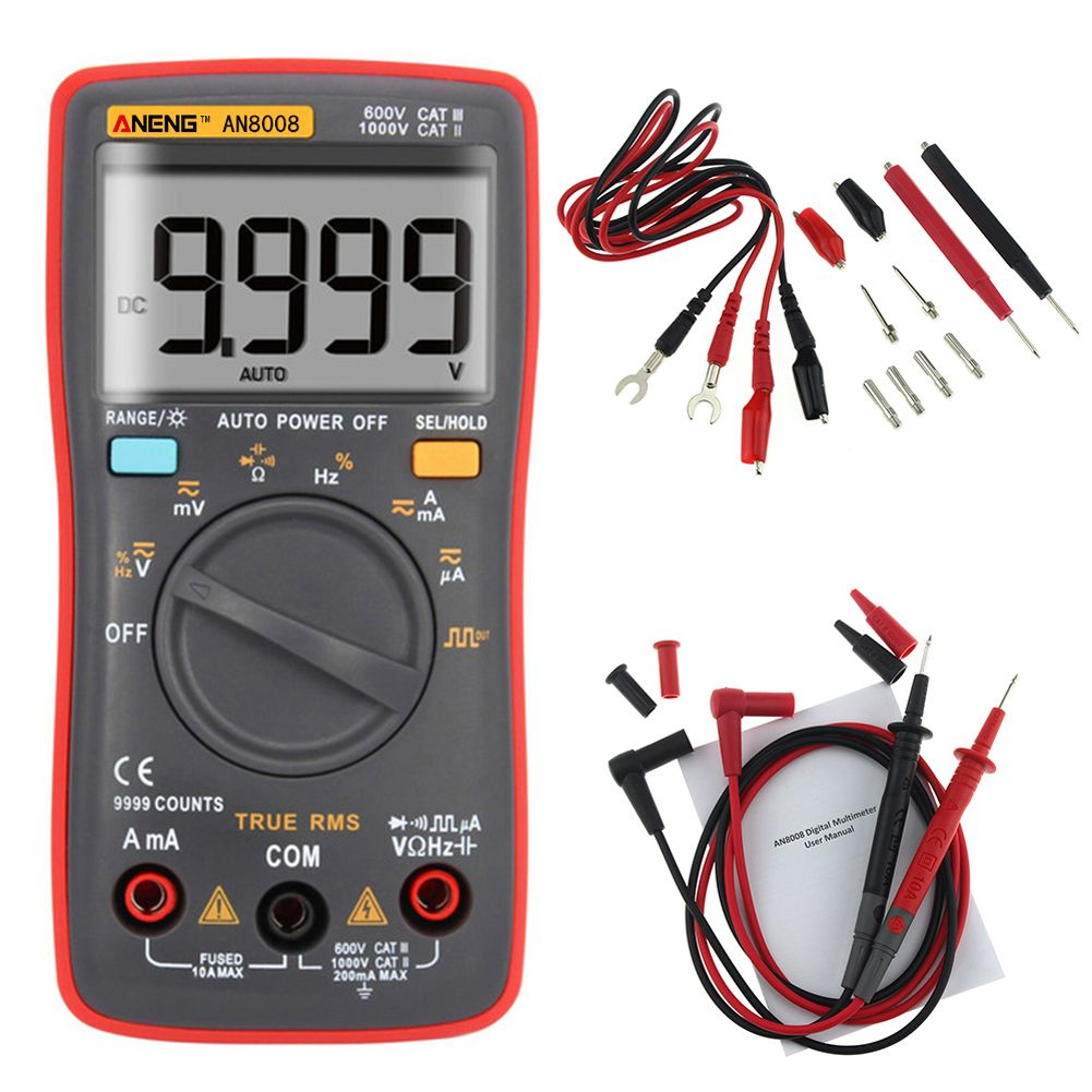 ANENG AN8008 Digital Multimeter 9999 Counts Square Wave Backlight AC DC Voltage Ammeter Current Ohm Auto/Manual