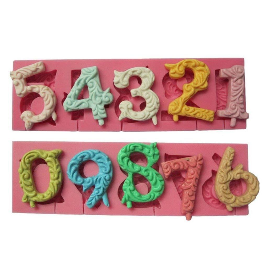 2 teile/satz 0 zu 9 Anzahl Form Silikon Form DIY Handgemachten Back Werkzeug für Gips Parfüm Aroma Wachs Kuchen Backformen dekoration