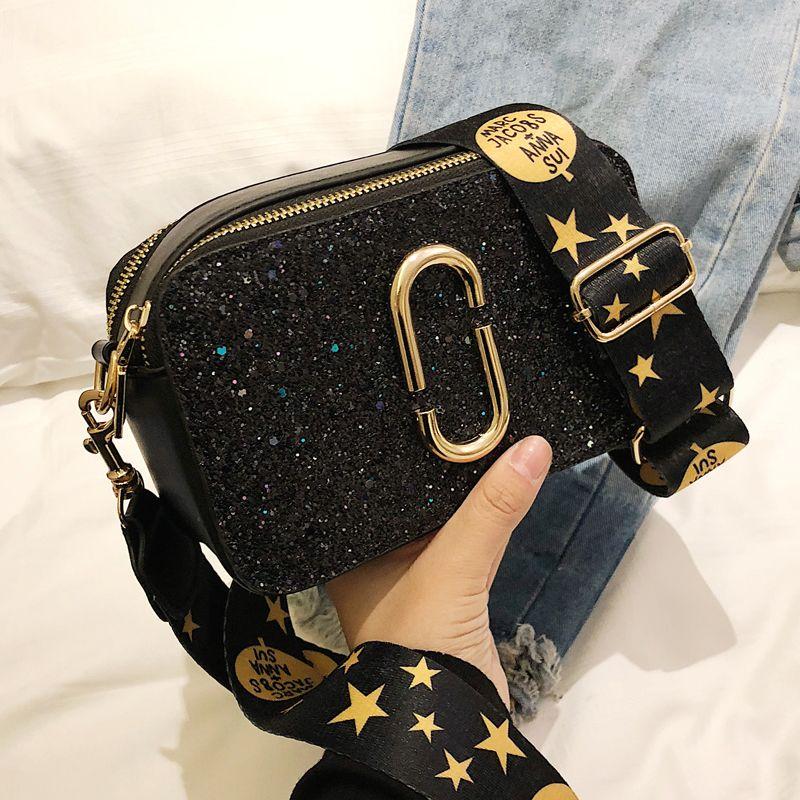 2019 mode nouveau dames Sequin sac carré de haute qualité en cuir PU femmes concepteur de luxe sac à main noir épaule sac de messager