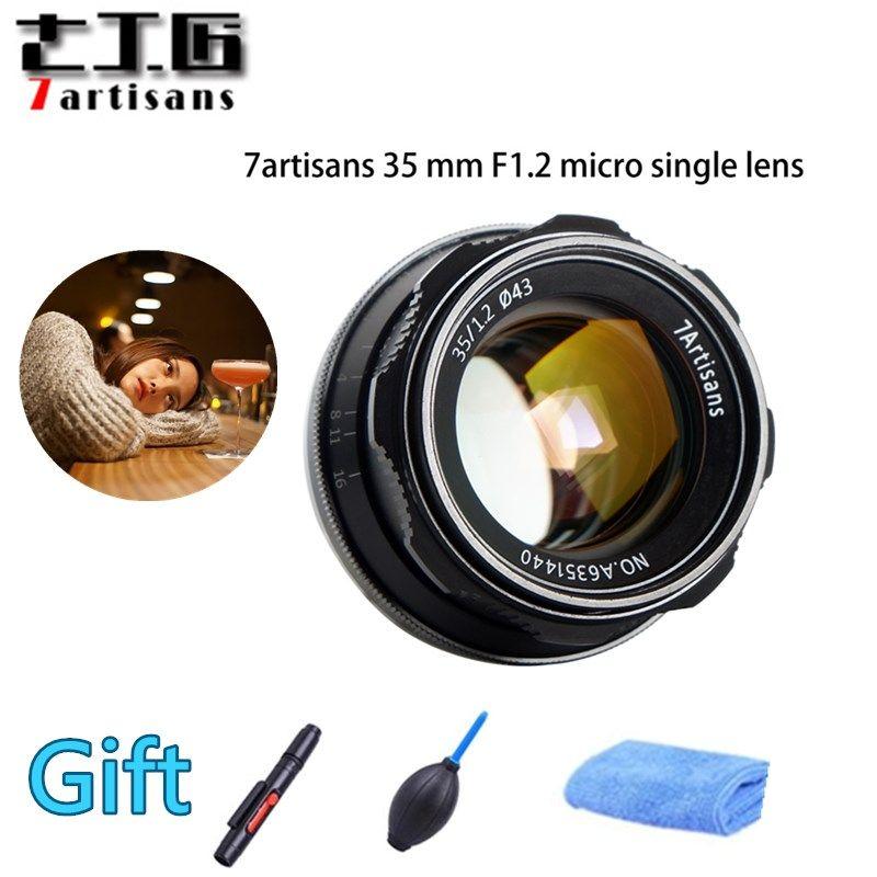 Original 7artisans 35mm F1.2 APS-C Manual Fixed Lens For E Mount Canon M1 M2 Sony A6500 A6300 A5100 EOS-M Mount Fuji FX Mount