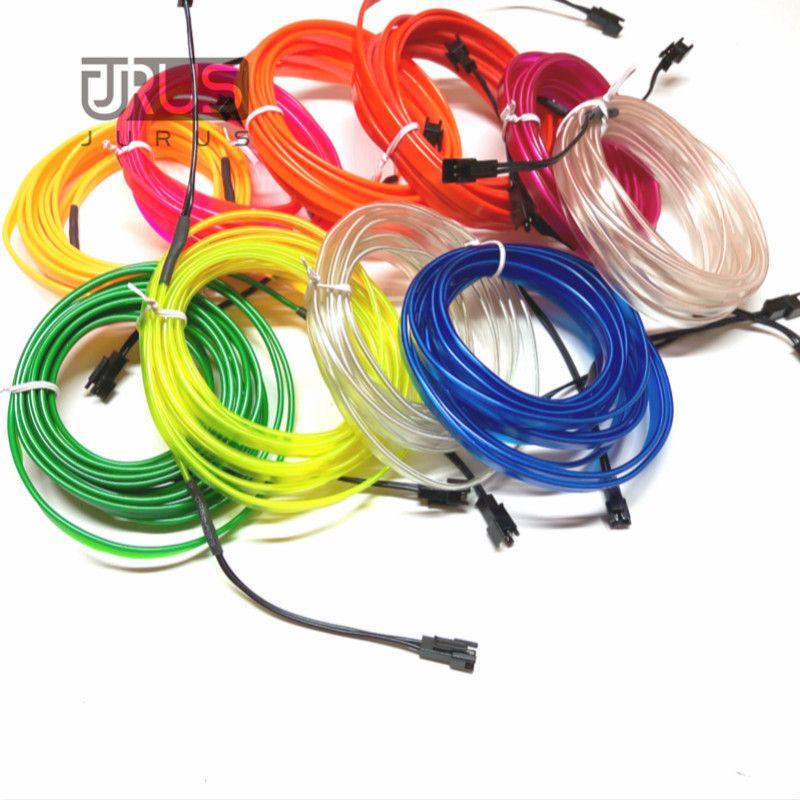 JURUS 3 Mètres flexible neon light glow el fil plat led bande de voiture pour éclairage intérieur 12 V Inverter Véhicule De Voiture Décoration lampe