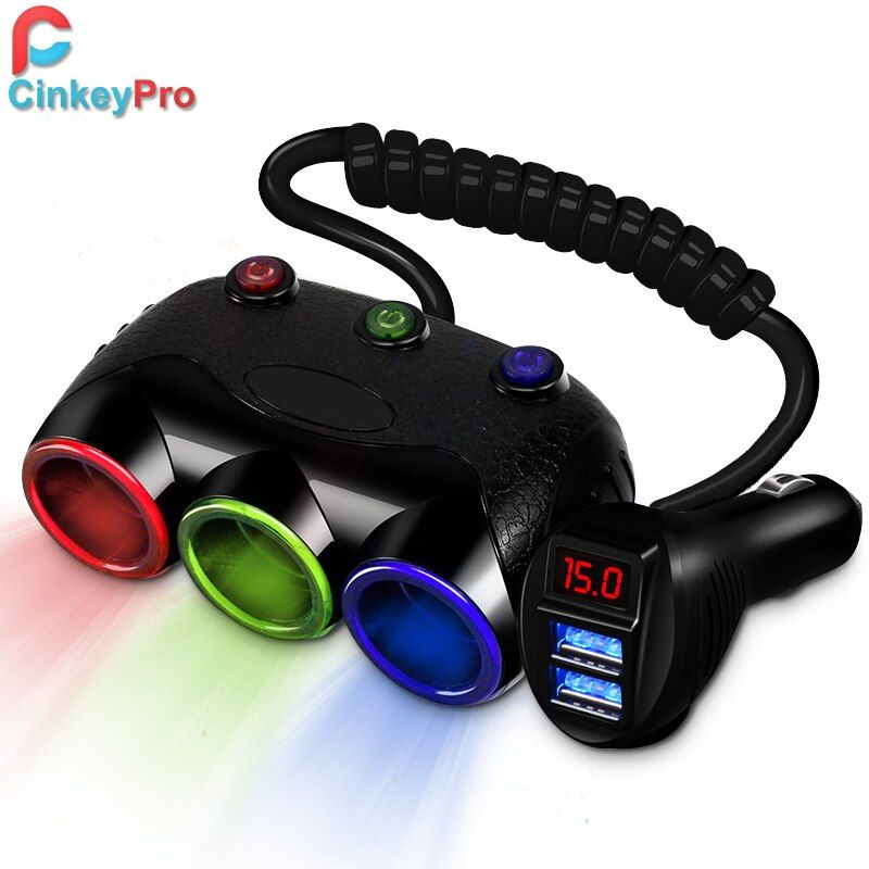 CinkeyPro Car Charger For Samsung iPhone 2-Port USB Car-Charger 5V 3.1A 3-Socket Cigarette Lighter Adapter Mobile Phone Charging