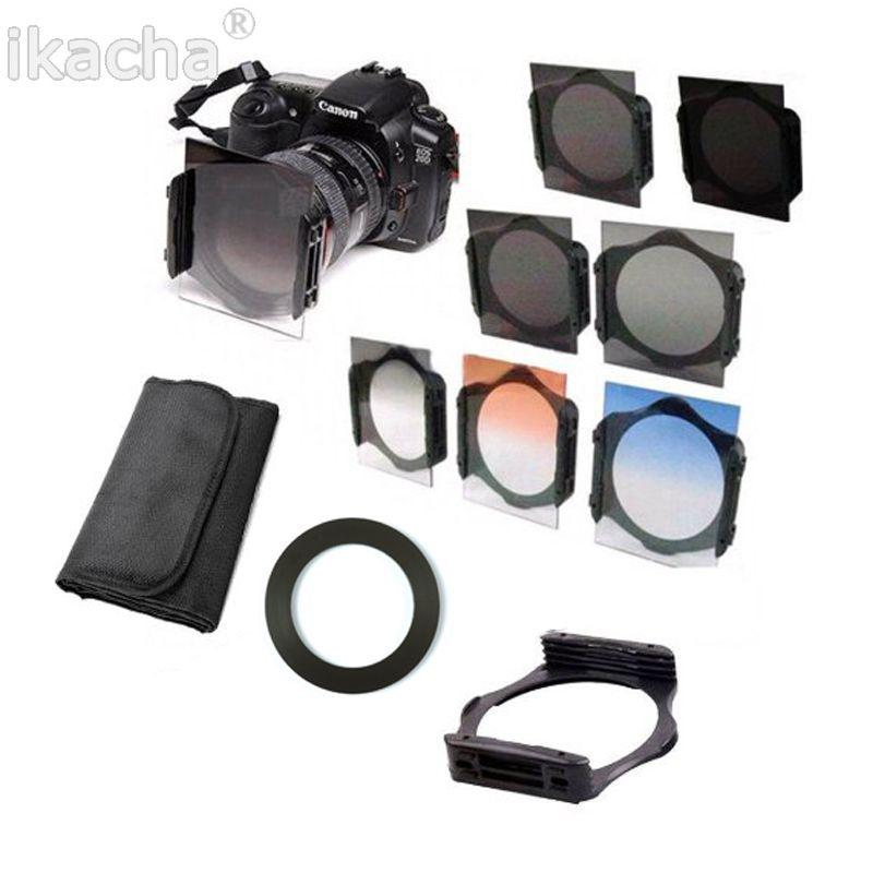Complet ND 2 4 8 + graduel ND4 bleu Orange filtre 49 52 55 58 62 67 72 77 82mm Kit pour Cokin P Set SLR DSLR objectif appareil photo